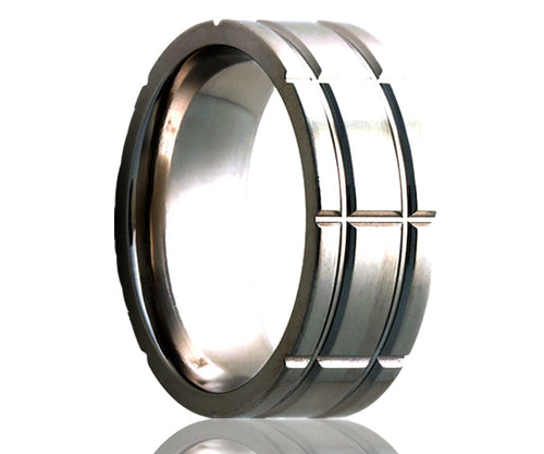 Titanium Flat Wide Intersecting Grooves Milled Ring