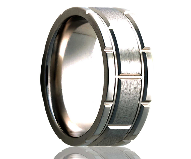 Titanium Flat Wide Brick Satin Milled Ring