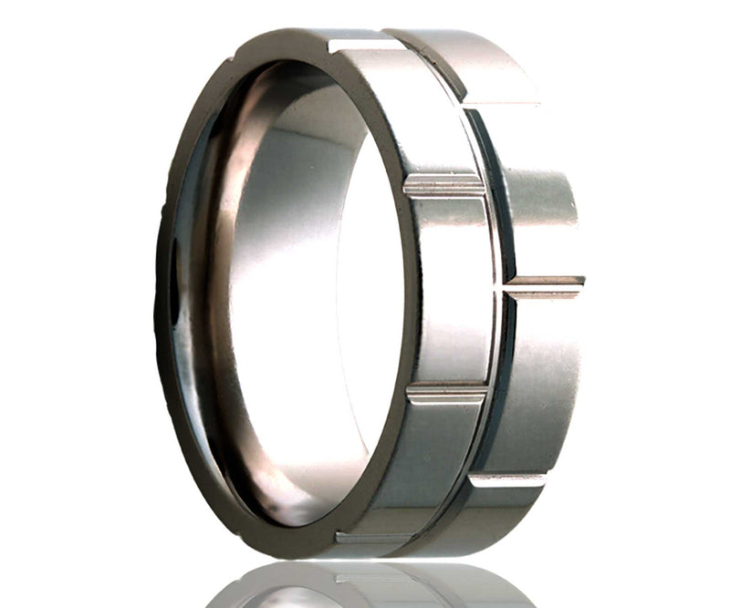 Titanium Flat Brick Milled Ring