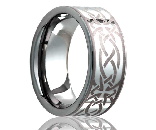 Titanium Flat Laser Engraved Cross Ring