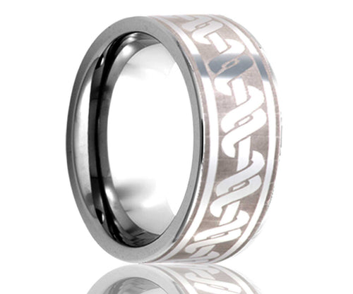 Titanium Flat Laser Engraved Wrapped Ring