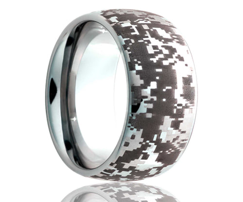 Titanium Dome Laser Engraved Pixel Ring