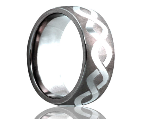 Titanium Dome Laser Engraved Infinty Ring