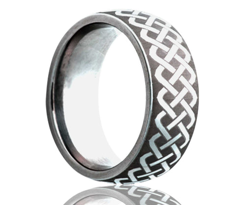 Titanium Dome Laser Engraved Weave Ring