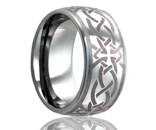 Titanium Dome Laser Engraved Cross Ring