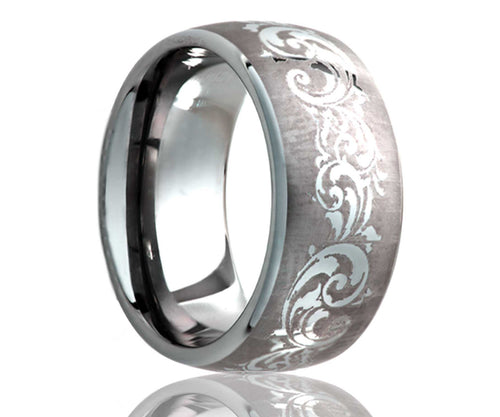 Titanium Dome Laser Engraved Swirl Ring