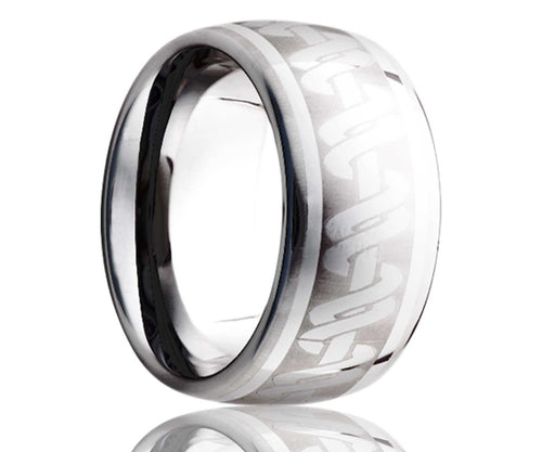 Titanium Dome Laser Engraved Wrapped Ring