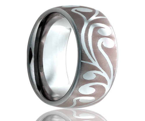 Titanium Dome Laser Engraved Swirl Ring 2