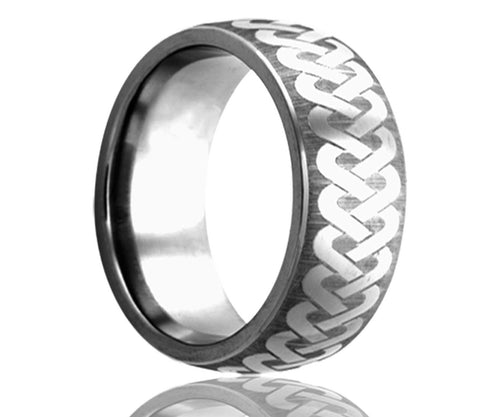 Titanium Dome Laser Engraved Braid Ring