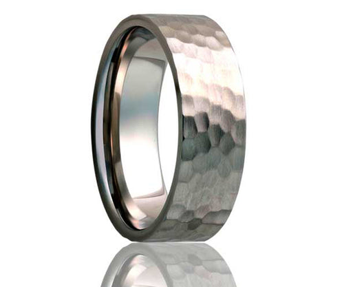 Titanium Flat Hammer Finish Ring