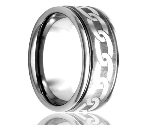 Titanium Deep Groove Laser Engraved Chain Ring