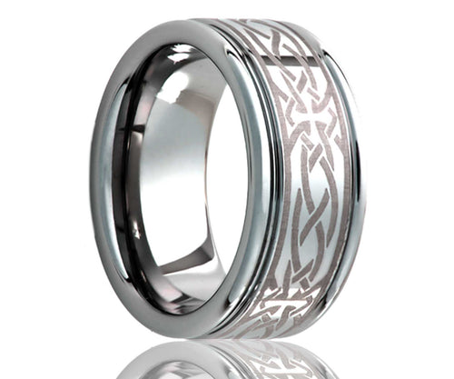 Titanium Deep Groove Laser Engraved Cross Ring