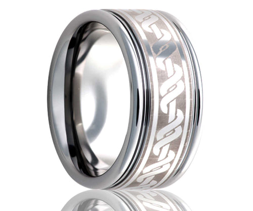 Titanium Deep Groove Laser Engraved Wrapped Ring