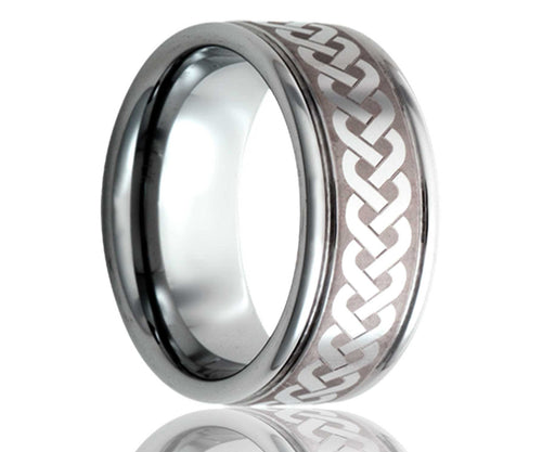 Titanium Deep Groove Laser Engraved Braid Ring