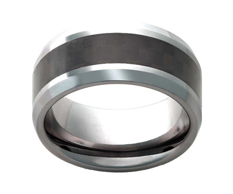 Beveled Tungsten Carbon Fiber Ring