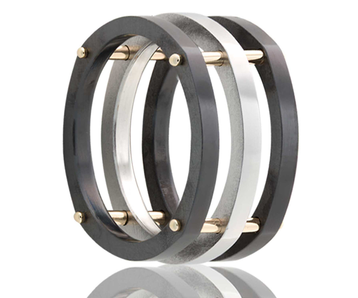 Cobalt and Zirconium Square Stacked Ring