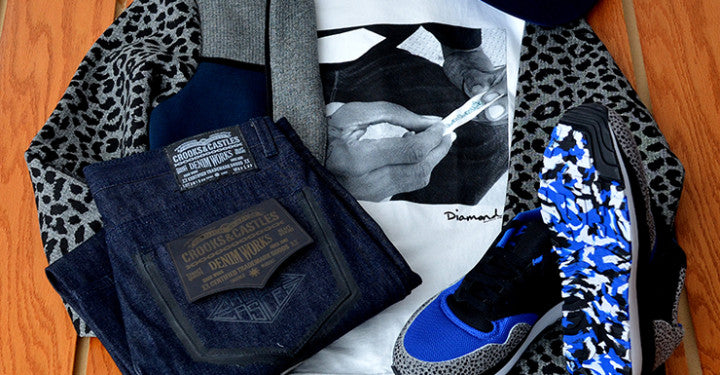 Crooks and Castles jeans & jacket, Diamond Supply tee, LRG snapback and Nike Safari LE