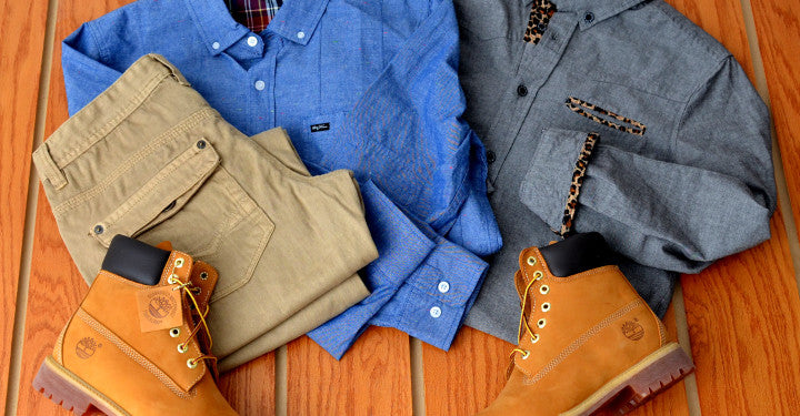 LRG and Entree Lifestyle button down shirts & Timberland construction boots