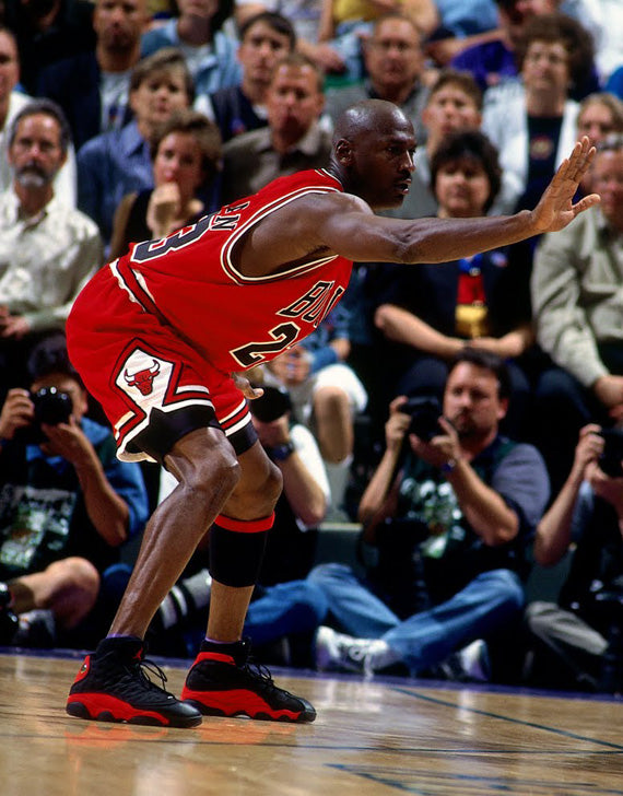 Michael Jordan wearing the Bred XIIIs in the 1998 NBA Playoffs