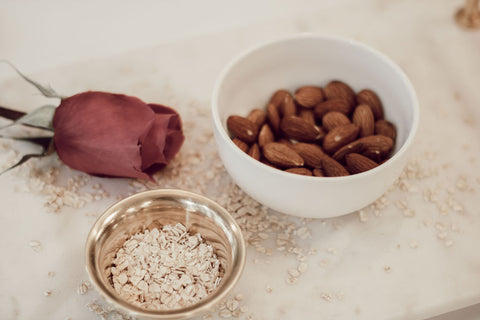 Rose and oatmeal and almond ingredients