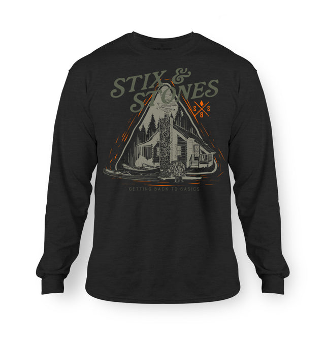 Long sleeve, black hunting and fishing cabin