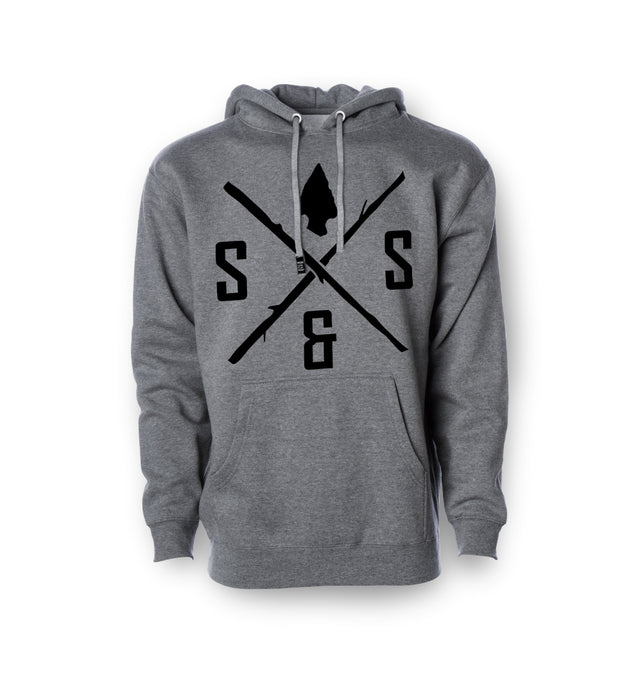 Pullover hoodie, Heavyweight Grey with black logo