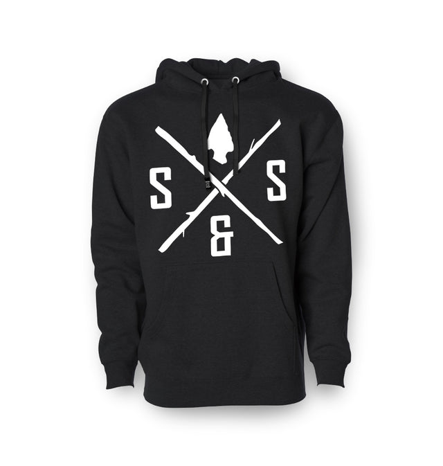Pullover hoodie, Heavyweight Black with white logo