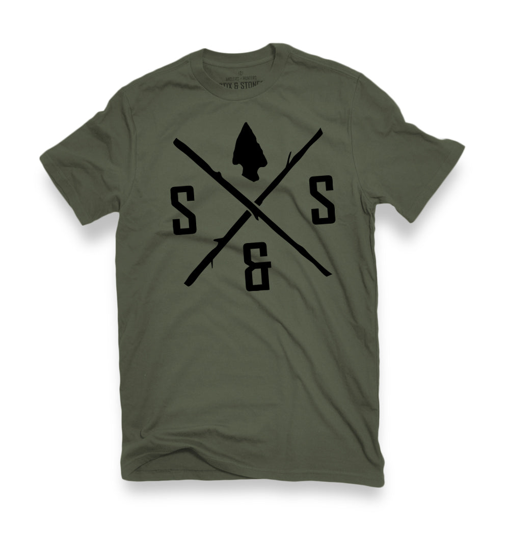 BLACK LOGO ARMY GREEN TEE