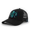 Outdoor hats, Black mesh back hat, Aqua logo
