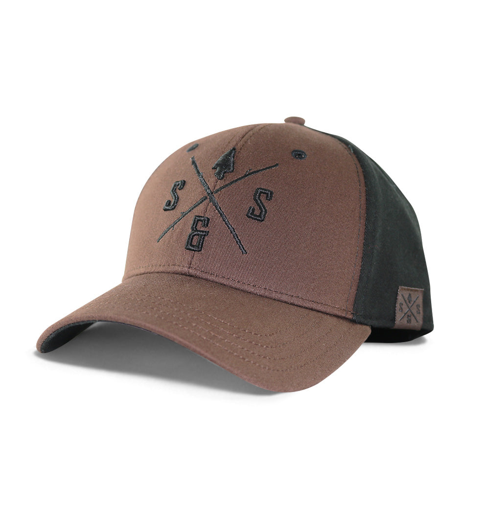 Outdoor hats, Brown full fabric hat, Black logo