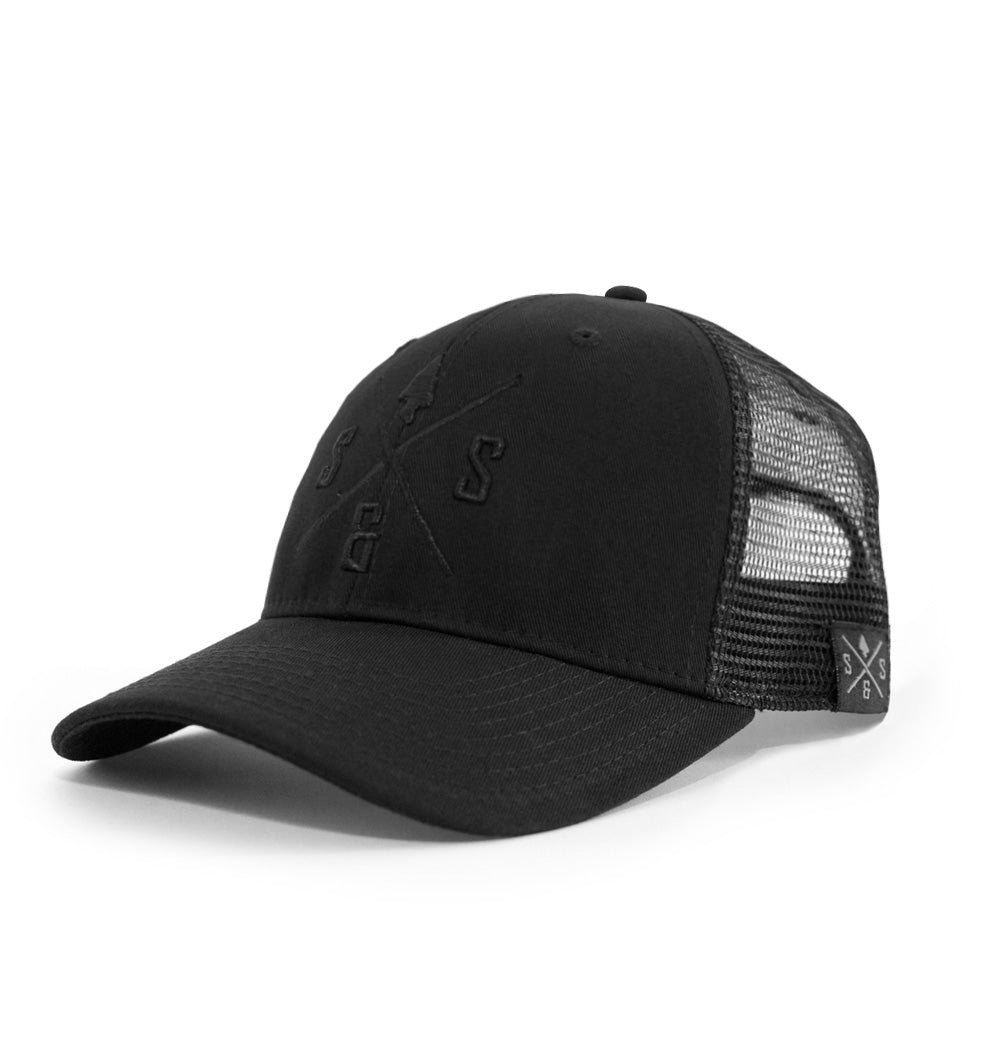 Outdoors hat, Mesh hat, Black on black, Black logo