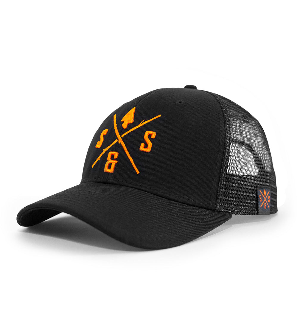 Hunting hat, Mesh hat, Black and blaze orange logo