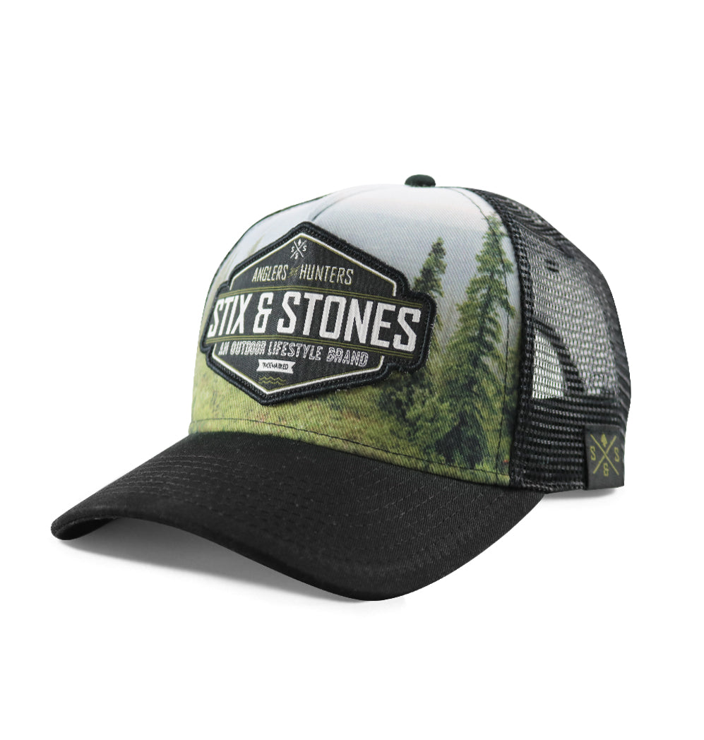 Outdoor hats, Landscape photo, black mesh back hat, Crest patch