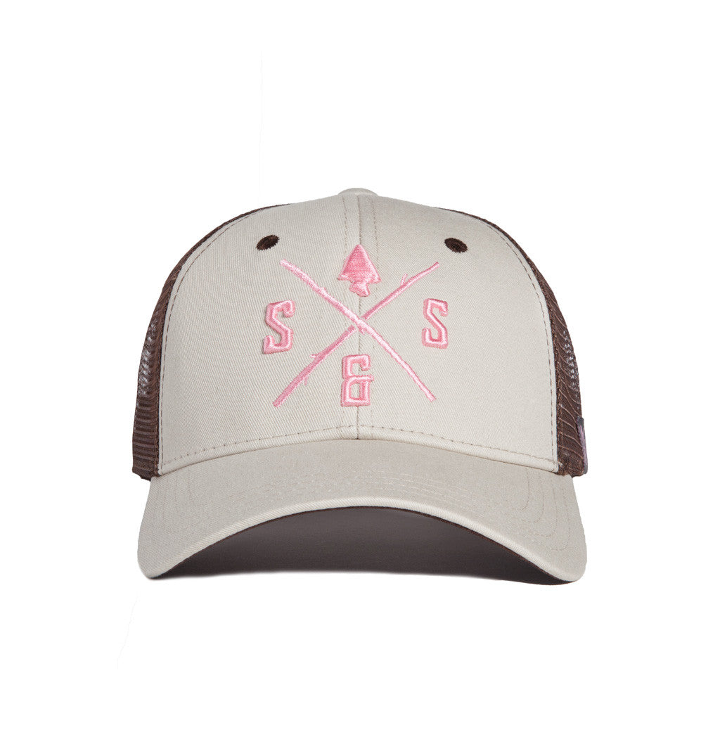 Outdoor hats, White and brown mesh back hat, light pink logo