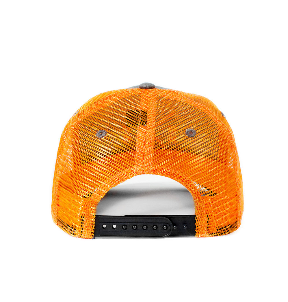 Outdoor hats, Grey and orange mesh back hat, Blaze orange logo