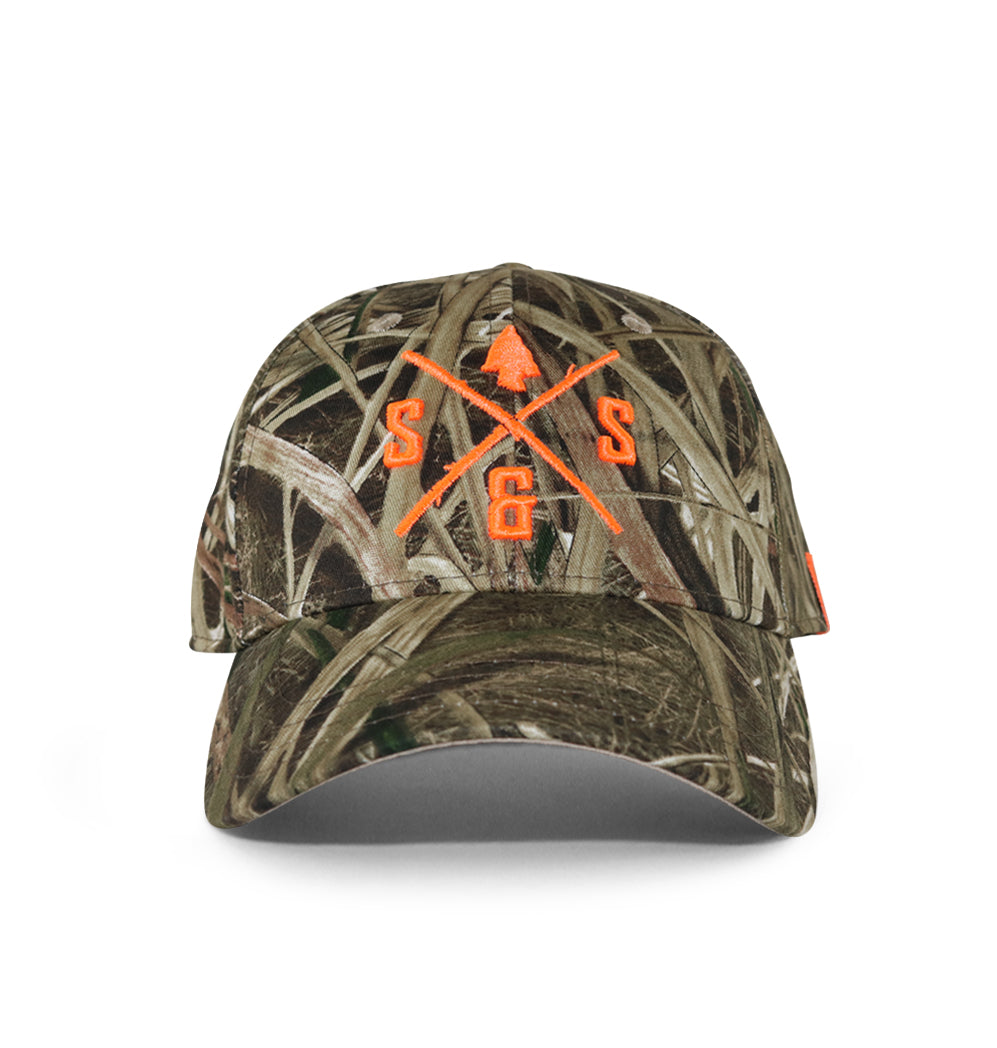 Mossy Oak hat, Tall grass with blaze orange logo