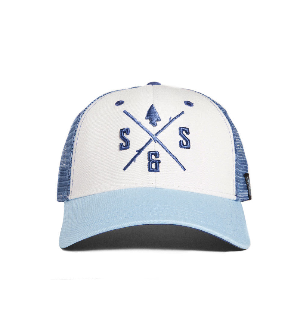 Outdoor hats, White and power blue mesh back hat, Blue logo
