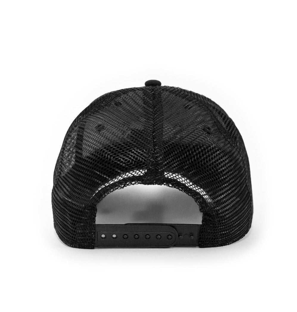 Outdoors hat, Mesh back, Black with white logo