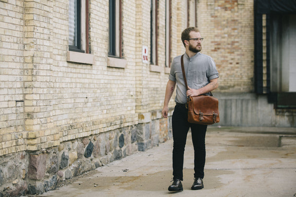 Men's Leather Accessories, The Jimmy B. Messenger for Brothers Leather Supply Company