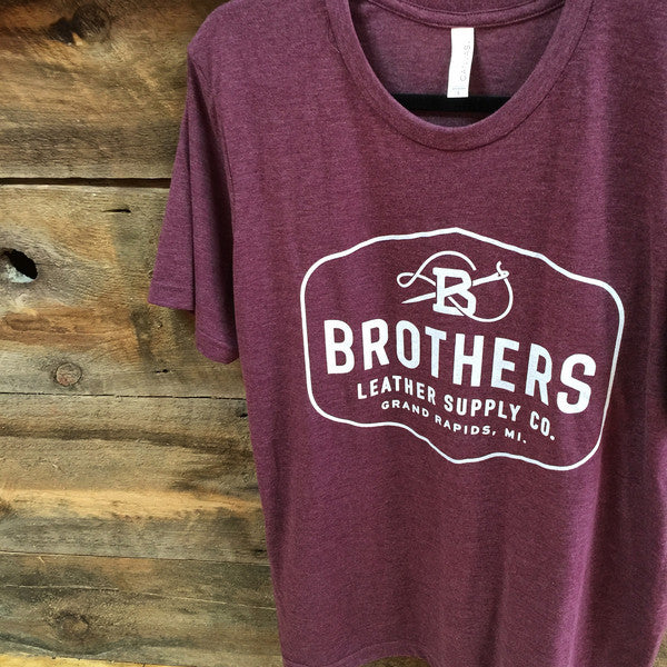 Brothers Leather Logo T-Shirt // Maroon