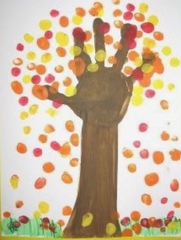 finger painting of a tree