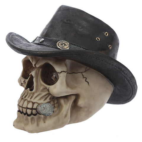 Halloween Decoration Skull with Hat and Cigar. Polyresin
