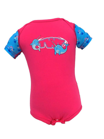 TWF Sunsafe Unicorn Whale Pink Baby Vest
