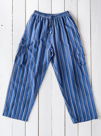 Gringo Fair Trade Nepalese Striped Cotton Cargo Combat Hippy Trousers