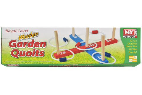 Wooden Garden Quoits Outdoor Hoopla Rope Toss Game