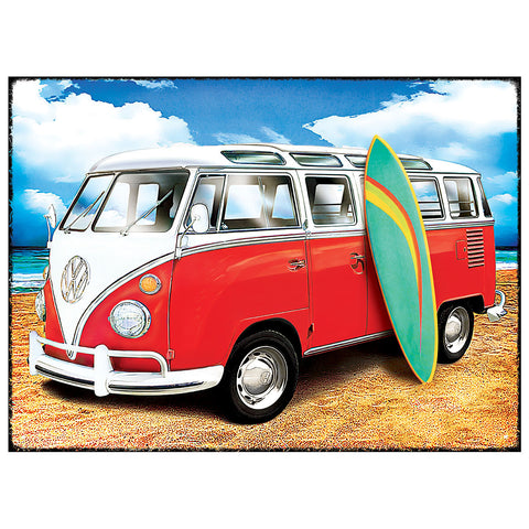 Officially Licensed Volkswagen Samba Surf Metal Wall Sign 300 x 410mm