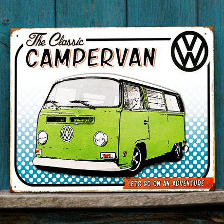 Officially Licensed Volkswagen Comic Style Camper Metal Wall Sign 300 x 410mm