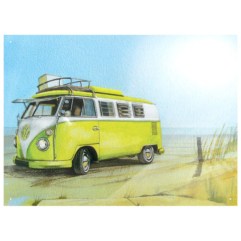 Officially Licensed Volkswagen Watercolour Camper Beach Metal Wall Sign 300 x 410mm