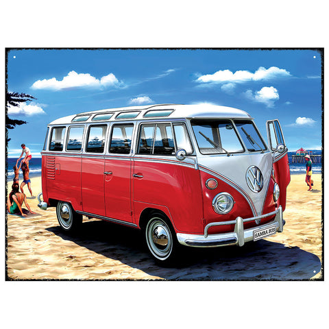 Officially Licensed Volkswagen Samba Bus Metal Wall Sign 300 x 410mm