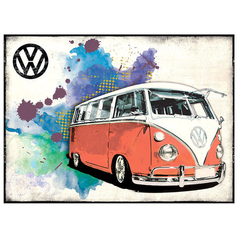 Officially Licensed Volkswagen Camper Grunge Red Metal Wall Sign 300 x 410mm